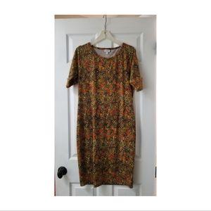 Lularoe Julia Formfit Midi Dress in Golden Print